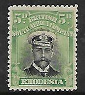Rhodesia,/ B.S.A.Co.,1913, Admiral,5d Black &green Die I Perf 14, MH * - Southern Rhodesia (...-1964)