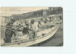 VEULES Les ROSES - Sur La Plage - Pêcheurs Et Les Filets - Animée - 2 Scans - Veules Les Roses