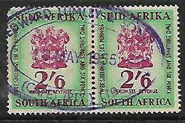 S.Africa,  Revenue Stamps,1954 60, 2/6 Pair Used 1955 EDWARD LUMLEY & SONS CAPE (PTY) (LTD) - Zuid-Afrika (...-1961)