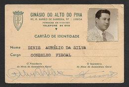 Portugal Carte Membre Ginásio Do Alto Do Pina Lisboa Lisbonne Gymnastique 1957 ID Card Gymnastics Club Member - Gymnastique
