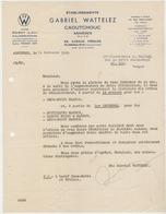 Ancienne Facture -Caoutchouc Gabriel WATTELEZ - ASNIERES - France