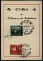Deutsches Reich 748-749 Auf Gedenkblatt Bayreuth Wagner Festspiele 1940 Als - Deutschland