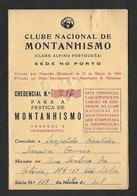 Portugal Carte Alpiniste 1957 Club Nationale De Alpinisme Clube Nacional De Montanhismo  Mountaineering ID Card - Gymnastique