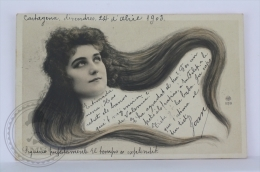 Old & Rare 1903 Real Photo Postcard - Lady/ Girl Head With Long Hair - Posted - Postales