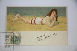 Original Postcard Youg Lady At Seaside Beach  - Ed. Munk Vienne N 205 - Unknown Illustrator - Ilustradores & Fotógrafos