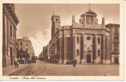 Postcard Italy Puglia Taranto Chiesa Del Carmine Church Street Scene Tram Unposted 1930s ? - Taranto