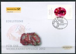"Germany 2012 First Day Cover FDC Mi.Nr.2909 Selbstkleber ""Wohlfahrt-Edelsteine,Rubin ""1 FDC - Mineralien"