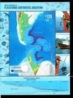 ARGENTINA 2018 ANTARCTIC ANTARCTIQUE MAP SHIP CONTINENTAL PLATAFORM BLOC MNH - Navires & Brise-glace