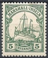 Marshall Isl. 1901 Kaiser's Yacht, 5pf Green # Michel 14 - Scott 14 - Yvert 14  USED - Colonie: Marshall