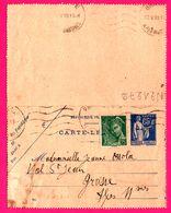 Carte Lettre 65 C Type Paix Taxée Surcharge 25 C Marianne Vert - Entier Postal - Oblit. Grasse - Pour OSSOLA - 1939 - Biglietto Postale