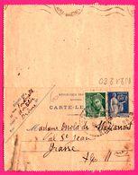Carte Lettre 65 C Type Paix Taxée Surcharge 25 C Marianne Vert - Entier Postal - Obl. Montélier ( 26 ) Vs Grasse - 1939 - France