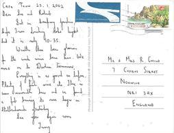 RSA South Africa 2002 Cape Town Cliffs Protea Flower Waterfront Airmail Viewcard Rate - Afrique Du Sud (1961-...)