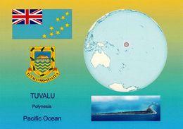 1 AK Tuvalu * Die Karte Zeigt Die Flagge, Das Wappen, Eine Ansicht Und Die Position Von Tuvalu Auf Der Weltkarte - Tuvalu