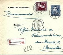 Belgique TP 832 + 847 A    L.  Rec. Charleroi 2 > Bruxelles   1951 - Bélgica