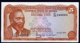 KENYA.  :5 Schillings - 1978 - P15 - UNC - Kenya