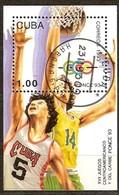 Cuba 1993 Yvertnr. Bloc 136 (o) Oblitéré Used Cote 4,50 Euro Sport Basket - Blocs-feuillets