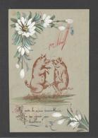 Themes Div-ref Y183- Carte Matiere Celluloide -celluloid - Aquarelle - Cochons - 1er Avril - Dessin Peinture - - Cartes Postales