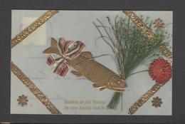 Themes Div-ref Y179- Carte Matiere Celluloide -celluloid - Decoupis Et Petit Herbier - Poisson D Avril  - - Cartes Postales