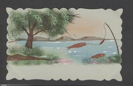Themes Div-ref Y178- Carte Matiere Celluloide -celluloid - Aquarelle - Dessin - Peinture  - Poisson D Avril  - - Cartes Postales
