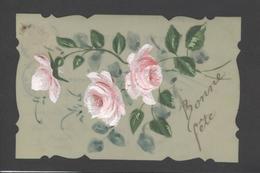 Themes Div-ref Y177- Carte Matiere Celluloide -celluloid - Aquarelle - Dessin - Peinture  -fleurs - Roses - Bonne Fete - - Cartes Postales