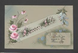 Themes Div-ref Y176- Carte Matiere Celluloide -celluloid - Aquarelle - Dessin - Peinture  -ruban - Roses - Bonne Fete - - Cartes Postales