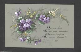 Themes Div-ref Y175- Carte Matiere Celluloide -celluloid - Aquarelle - Dessin - Peinture  - Fleurs - - Cartes Postales