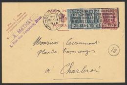 EP Au Type 15ctm Lilas Houyoux Obl Mécanique Bruxelles (1926) Vers Charleroi / Congrès De Chimie - Enteros Postales