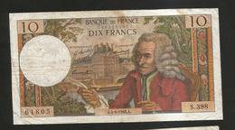 FRANCE - BANQUE De FRANCE - 10 Francs VOLTAIRE ( A. 4 / 4 / 1968 ) Serie: S. 398 - 1962-1997 ''Francs''