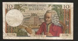 FRANCE - BANQUE De FRANCE - 10 Francs VOLTAIRE ( K. 5 / 11 / 1965 ) Serie: Z. 196 - 1962-1997 ''Francs''