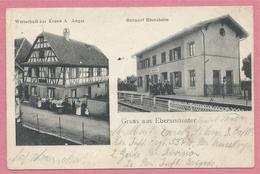 67 - GRUSS Aus EBERSMÜNSTER - Bahnhof - Gare EBERSHEIM - Wirtschaft Zur Krone - Feldpost - Guerre 14/18 - 4 Scans - France