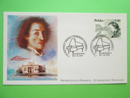"""1999 Joint France / Poland - Chopin Death 150th Anniversary - French-origin """"Numismatique Francaise"""" Polish FDC - Joint Issues"""