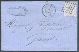 N°18 - 20 Centimes Bleu,  Obl. LP.58 Sur Lettre De BRUGES Le 19 Janvier 1869 Vers Gand -  13396 - 1865-1866 Profile Left