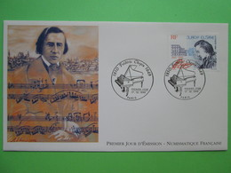 """1999 Joint France / Poland - Chopin Death 150th Anniversary - French-origin """"Numismatique Francaise"""" French FDC - Joint Issues"""