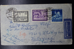 Austria: Anschluss Luftpost Cover Wien -> Hollywood Caifornia Mi 711 + 776 + 778 19-5-1941 - 1918-1945 1. Republik