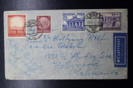 Austria: Anschluss Luftpost Cover Wien -> Hollywood Caifornia Mi 803 + 805 1-10-1941 - 1918-1945 1. Republik