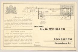 Nederlands Indië - 1932 - 2 Cent Verhuiskaart G8 Met Machinestempel Bandoeng - Ook Uw Pakketten Per Luchtpost - Nederlands-Indië