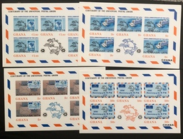GHANA 1974 UPU INTERNABA IMPERFORATE SHEETLET SET MINT NEVER HINGED - UPU (Universal Postal Union)
