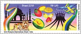 BRAZIL 2018 - Friendship Brazil - India. MNH - Taj Mahal, Tiger, Fruits, Macaw, Brasilia Cathedral - Cultures