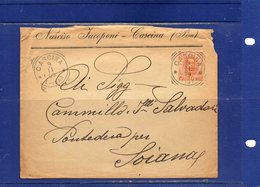 ##(DAN1810)-1899- Busta Con Contenuto Da Cascina (Pisa) Annullo Tondo Riquadrato Per Pontedera Per Soiana - 1878-00 Umberto I