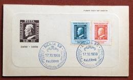 FILATELIA SICILIA  ESPOSIZIONE FILATELICA INTERNAZIONALE PALERMO 17/10/1959 CARTOLINA RICORDO - Francobolli