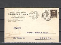1932 CARTOLINA PUBBLICITARIA A. BRANCA & C. C. - S.A. VIAGGIATA - Pubblicitari