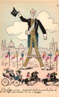 Frankreich, Politische Karikatur, Eifelturm, Sign. Bobb - Satirische