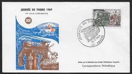 FRANCE N° 1589 Journée Du Timbre 1969 Enveloppe FDC CàD ANGERS (49) Omnibus Transport Facteurs - FDC