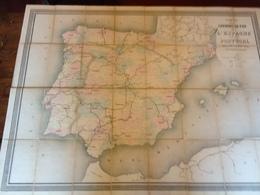 ESPAGNE - CARTE Des CHEMINS De FER De L'ESPAGNE Et Du PORTUGAL ( Vers 1880 ) - Cartes Géographiques