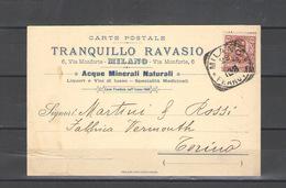1902 CARTOLINA PUBBLICITARIA TRANQUILLO RAVASIO VIAGGIATA - Pubblicitari