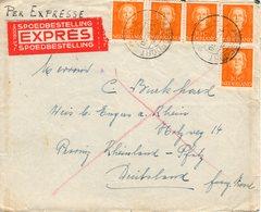 13 III 1951 Expresbrief  Van Amersfoort Naar  Engers A. Rhein  Met 5x NVPH 520 Met Bahnpoststempel - Periode 1949-1980 (Juliana)