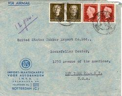 28 XII 1949 Mengfrankering  Paar NVPH 486 En Paar NVPH 523 Op Firma Luchtpostenvelop Van Rotterdam Naar New York - Periode 1949-1980 (Juliana)