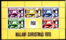 Malawi 1970 MNH Scott #146a Souvenir Sheet Of 5 Mother And Child Christmas - Malawi (1964-...)