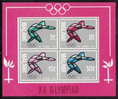Malawi 1972 MNH Scott #193a Souvenir Sheet Of 4 Athlete Summer Olympics Munich - Malawi (1964-...)