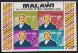 Malawi 1973 MH Scott #207a Souvenir Sheet Of 4 Dr. David Livingstone, Map Of West Africa - Malawi (1964-...)
